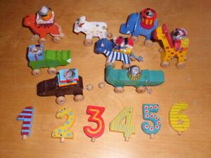 Geburtstagszug aus Holz Tierkarawane von goki 1. bis 6. Kindergeburtstag  Deko