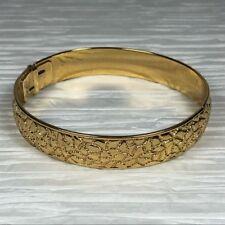 Vintage Monet Gold Textured Hinge Bracelet Cuff