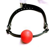Leather Mouth Gag Red Ball LOCKABLE lock Yoke Choker ADULT collar bdsm RATS BUM