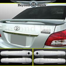 2007-2012 Yaris Sedan OEM Factory Style Spoiler+Chrome Door Handle Covers w/PSK