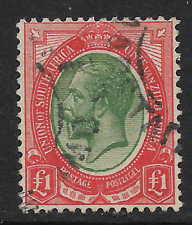 South Africa 1913 KGV Heads £1 Single Cape Town CDS Fine Used SG17