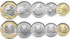 SINGAPORE 5 COINS SET 5, 10, 20, 50 CENTS, 1 DOLLAR BIMETALLIC 2013 UNC