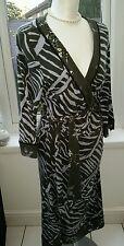 FENN WRIGHT MANSON Jersey Wrap Dress  Tie Belt Size 12,  Blue Grey print