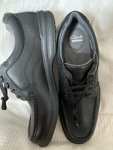 Clarks Collection Lightweight Casual Shoes Black Leather Lace Up Size 14 BNWOB