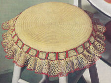 Vintage Crochet PATTERN Chair Stool Seat Slip Cover