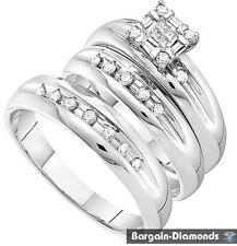 Diamond .33-carat 3-Ring 14K Gold Wedding Band Set bridal groom