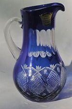 Broc / Pichet / Pot à eau en Cristal Couleur Taillé Overlay Bleu