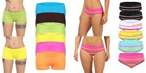 6er Pack Damen Microfaser Panty Hipster Shorts Slip Unterwäsche Dessous Hotpants
