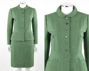 Vtg MARSHALL FIELD & COMPANY c.1950s 2Pc Green Wool Jacket Pencil Skirt Suit Set
