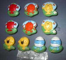 VINTAGE MR MEN LITTLE MISS POTTERY DRAWER PULLS HAND PAINTED LOT of 10 FIVE PAIR