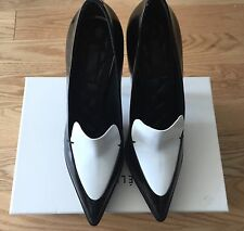e1619a5f746 Celine Black   White Leather Platform Loafers Heels Shoes Size 38