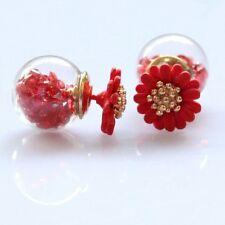 Stylish glass flower double sided stud earrings