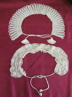 VINTAGE SET OF TWO LADIES HAND KNITTED CROCHET DOILY & LACE DRESS COLLARS