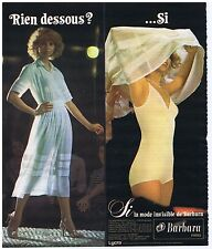 PUBLICITE ADVERTISING 114 1978 BARBARA la mode invisible combine soutien gorge