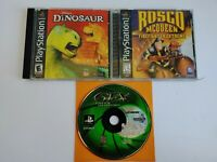 PS1 Video Game Lot Dinosaur Rosco Mcqueen Firefighter Gex Tested Playstation 1 X