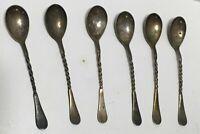 "Set of 6 Vintage Spiral Handle Silverplate Spoons William Rogers 5"" Sugar Spoons"