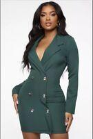 Fashion Nova Women Enterprise Blazer Dress -Hunter Green Size Small Sold Out