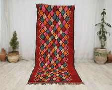 """Handmade Moroccan Vintage Berber Rug 3'8""""x8'9""""  Geometric Wool Red Pink Carpet"""