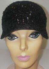Vintage 1920s Cloche Flapper Hat Black Felt Sequin Wm Filene & Sons Boston