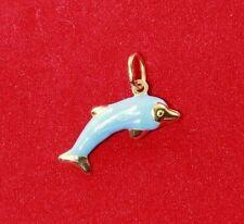 NEW 9ct Yellow Gold Dolphin Charm 375 Pendant Blue Enamel 3D Fun Play Smart