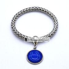 Indianapolis Colts Team Logo Charm Dangle Fashion Silver Tone Stretch Bracelet