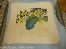 Chinese Ink Wash Painting  (Signed with artist Seal)  Two birds amid Fruit