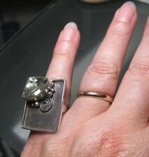 925 sterling silver 9gr cocktail GREEN AMETHYST ring M½-¾/US 6.75