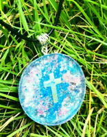 Orgone Orgonite pendant Crucifix, stones and crystals, religion.Protection.