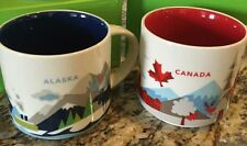 2 Mug Set : Alaska + Canada V2 You Are Here (YAH) 14 Oz. Starbucks Mugs