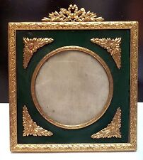 Beautiful French Dore Bronze & Green Celluloid Picture Frame, ca 1900