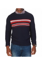 93997f9e6f55c0 Nautica Blue Red Mens Size XL Fair Isle Knit Crewneck Sweater