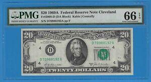 1969 A $20 Twenty Dollar Cleveland Federal Reserve Note PMG 66 EPQ Fr# 2068-D BU