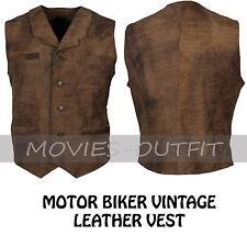 Mens Vintage Fashion Motorbiker Casual Wear Brown Distressed Leather Biker Vest
