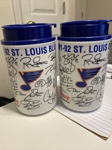 Lot Of 2 St. Louis Blues NHL SGA Insulated Mug/Cup W/Lid Thermo Stein 1991-1992