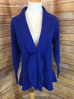 100% Wool Jones New York Woman Sapphire Blue Jacket Blazer SZ 0X Ruffle Front