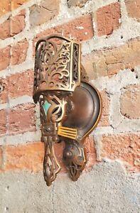 PR Art Deco BRONZE Electric Sconces-Spanish/Tudor/Gothic-Lincoln Slip Shade Era