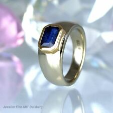 Ring in 585/- Gelb/Weißgold mit 1 Saphir 1,33 ct. glänzend - 10,8 g