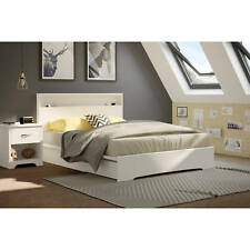 White 3 Piece Queen Storage Two Drawer Platform Bed Frame Home Bedroom Furniture