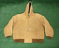 Vintage Carhartt Brown Quilted Hooded Jacket Size 2XL Usa Made