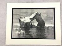 1875 Antique Print HMS Discovery British Arctic Expedition Polar Landscape