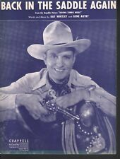 Back In The Saddle Again 1940 Gene Autry Sheet Music