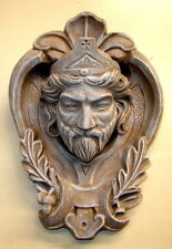 Huge Bohemian English King Wall Plaque Sculpture Castle Rare