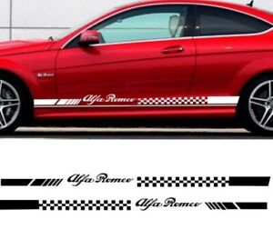 2pcs Car Stripes Flags for alfa romeo Vinyl Lower Door Decal Side Stickers