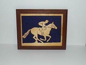 Handcrafted Framed Horse Racing Jockey Equestrian
