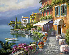Seaside Bistro Café Sung Kim Landscape Europe Ocean Boat Café Print Poster 22x18