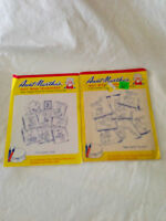 2 Aunt Martha's Hot Iron Embroidery Transfer #3740 Ducky Ducks & Dottie Duck NEW