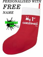 PERSONALISED CHRISTMAS STOCKING first XMAS GIFT SOCK SANTA CHILDS NAME PRESENT