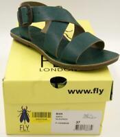 FLY London Bian Flat Leather Sandal Nilegreen Women's Shoes 37/7 M *New In Box**