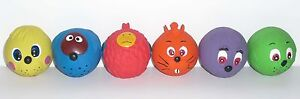 6 Armitage Retro Soft Latex FACE BALL Dog TOY Puppy Bright Soft Squeaky Fun