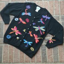 Quacker Factory Size L Womens Black Dragon Fly Flower Cardigan Sweater N15